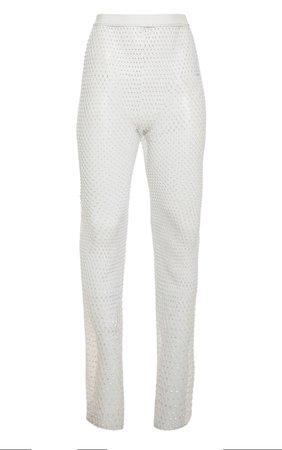 White Mesh Diamante Wide Leg Trouser | PrettyLittleThing