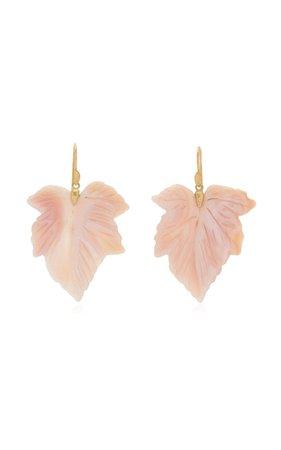 Fancy Leaf 18k Yellow Gold Mother-Of-Pearl Earrings By Annette Ferdinandsen | Moda Operandi