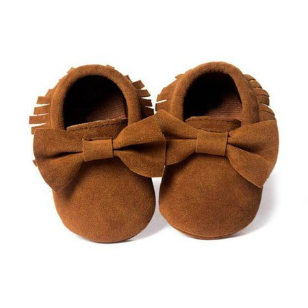 Baby Girl Fringed Bow Moccasin Shoes – The Trendy Toddlers