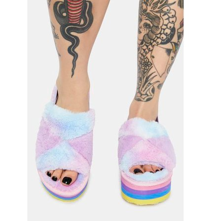 Rainbow Fuzzy Faux Fur Platform Sandals - Pastel | Dolls Kill