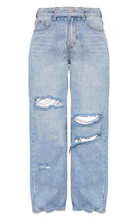 Bleach Wash Baggy Ripped Boyfriend Jeans | PrettyLittleThing USA