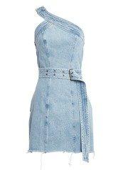 GRLFRND Callie One Shoulder Belted Denim Dress   Dresses