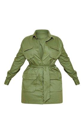 Plus Khaki Utility Tie Waist Shift Dress | PrettyLittleThing USA