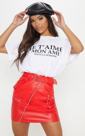 Red Biker Belted Mini Skirt | Skirts | PrettyLittleThing