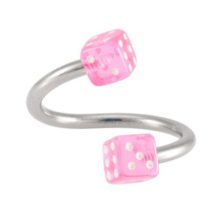 2 Pieces 16G Stainless Steel Spiral Twisted Rings Acrylic Dice Lip ear ring s Labret Body Piercing Jewelry|Body Jewelry| - AliExpress
