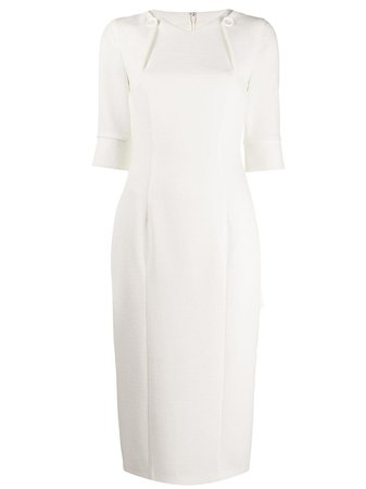 Shop white Talbot Runhof fitted midi dress with Express Delivery - Farfetch