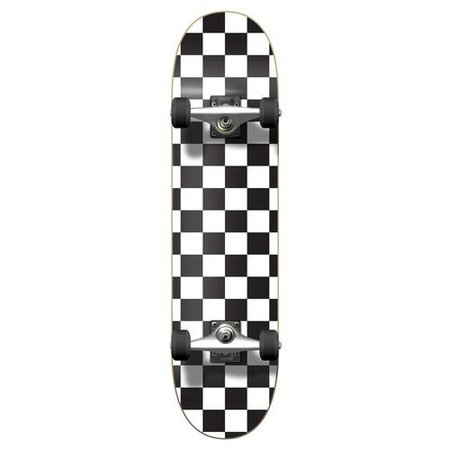 Graphic Complete Skateboard - Checker White
