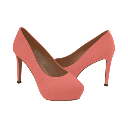Artsadd Color Solid Living Coral Women's High Heels (Model 044) | ID: D3364895 $60.90