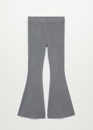Ribbed flared trousers - Women   Mango United Kingdom