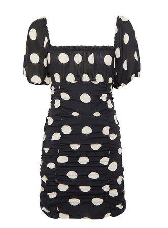 Black Spot Ruched Mini Dress | Miss Selfridge
