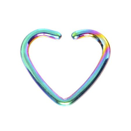 16 Gauge Rainbow Anodized Hollow Heart Daith Cartilage Closure Ring – BodyCandy