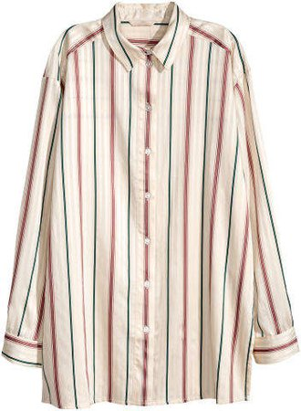 Shirt with Woven Stripes - White