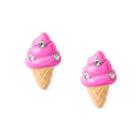 Sterling Silver Ice Cream Cone Stud Earrings - Pink | Claire's US