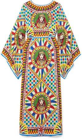 Printed Stretch-silk Satin Maxi Dress - Red