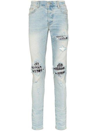 Amiri Mx1 Distressed Slim Fit Jeans S0M01106SD Blue | Farfetch