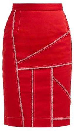 Symonds Pearmain - Patchwork Denim Pencil Skirt - Womens - Red