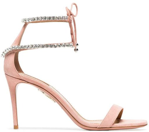 pink crillon 85 suede leather sandals