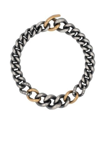 Shop silver & gold Hum 18kt yellow gold sterling silver chain bracelet with Express Delivery - Farfetch