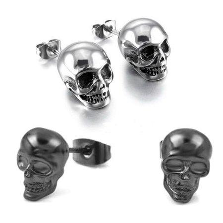 2 Pairs Fashion Punk Hip Hop Skeleton Skull Ear Stud Earrings Men Women Jewelry | eBay