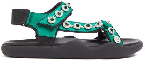 Fussbett Crystal-embellished Satin Sandals - Green