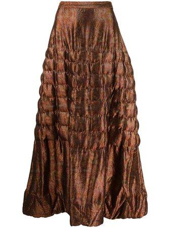 Yohji Yamamoto Pre-Owned square-quilt flared skirt - FARFETCH