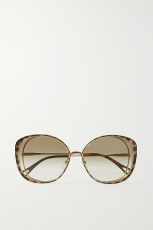 Gold Oversized round-frame acetate and gold-tone sunglasses | Chloé | NET-A-PORTER