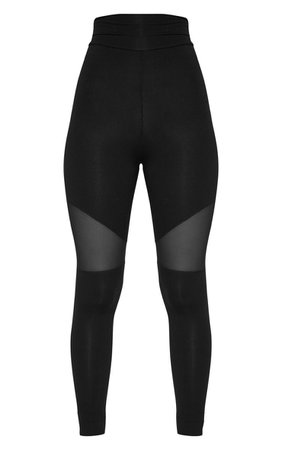 Black Mesh Panel Jersey Legging | PrettyLittleThing