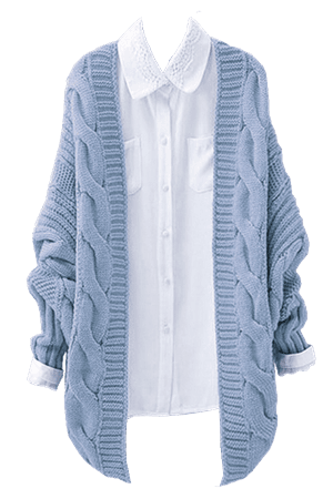 blue knit sweater with white shirt