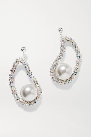 Silver Mini Oysters silver-plated, crystal and faux pearl earrings | PEARL OCTOPUSS.Y | NET-A-PORTER
