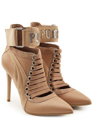 Lace Up Stiletto Boots with Leather and Suede Gr. UK 6.5