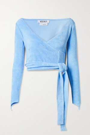 Dramady Cropped Cotton-blend Terry Wrap Top - Light blue