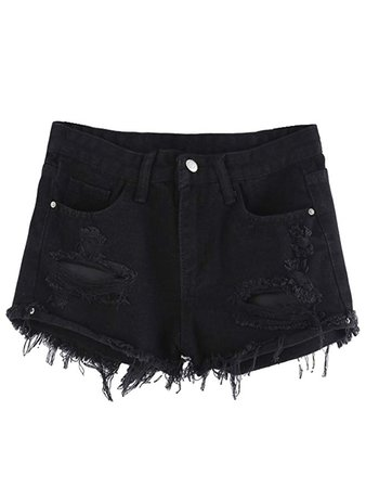 MAKEMECHIC Women's Frayed Raw Hem Ripped Distressed Denim Shorts Black# M at Amazon Women's Clothing store: