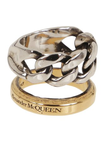 Alexander McQueen Stacked Chain Ring