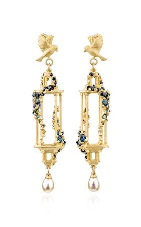 Polly Wales Jade Terrace Pagoda 18K Gold Sapphire Earrings
