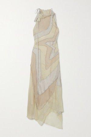 Asymmetric Paneled Silk-habotai Maxi Dress - Neutral