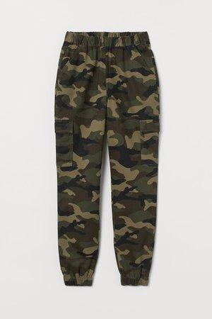 Twill Cargo Pants - Khaki green/patterned - Ladies | H&M US
