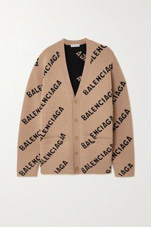 Intarsia Wool-blend Cardigan - Brown
