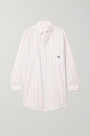 Oversized Pinstriped Cotton-poplin Shirt - Pink