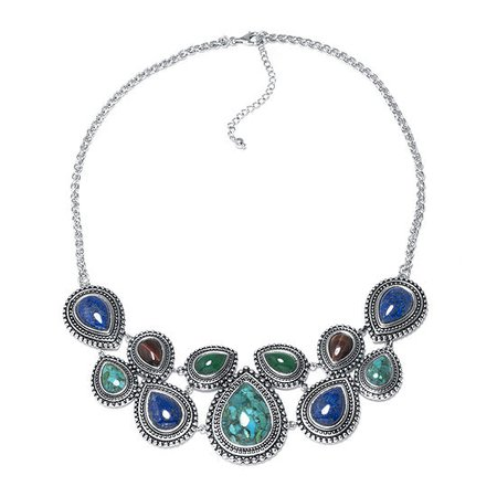 Enhanced Turquoise and Multi-Stone Sterling Silver Necklace, Color: Turquoise - JCPenney
