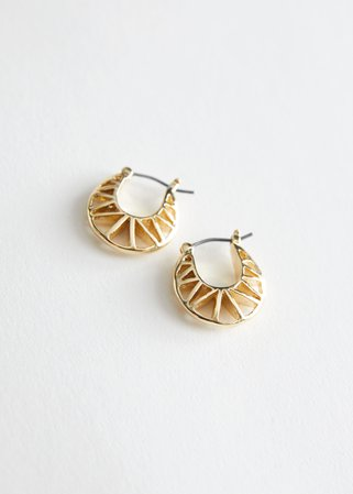 Cut Out Mini Hoop Earrings - Gold - Hoops - & Other Stories