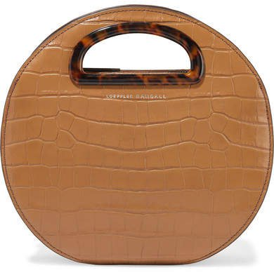 Indy Circle Croc-effect Leather Tote - Tan
