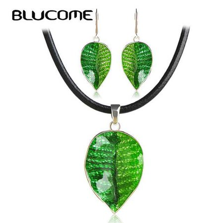 Blucome Fashion Green Leaves Jewelry Sets Women Lady Party Wedding Enamel Necklace Earrings Set Black Rope Chain Pendant Brincos-in Jewelry Sets from Jewelry & Accessories on Aliexpress.com | Alibaba Group