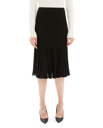 Theory Pleated Viscose Knee-Length Skirt   Neiman Marcus