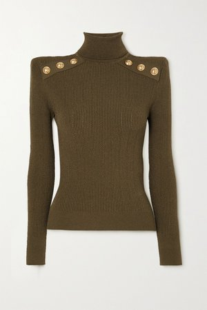 Army green Button-embellished ribbed-knit turtleneck sweater | Balmain | NET-A-PORTER