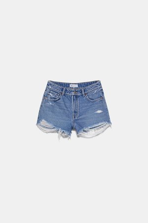 FRAYED MID-RISE DENIM SHORTS | ZARA United States blue