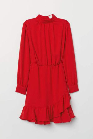 Dress with Stand-up Collar - Red