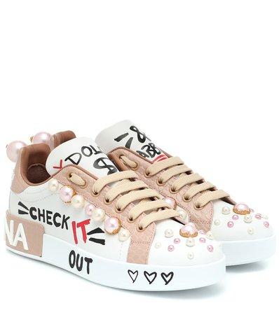 Dolce & Gabbana - Portofino leather sneakers | Mytheresa