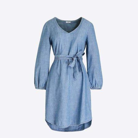 Long-sleeve chambray tie-waist dress