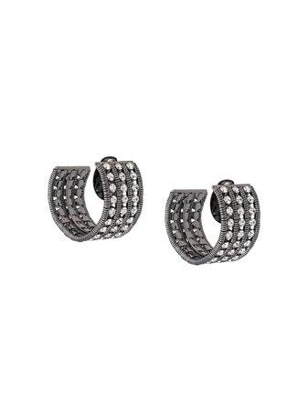 Silvia Gnecchi Rhinestone Earrings OR009GLORIA Black | Farfetch
