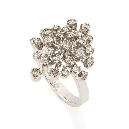 Anel de Ouro Nobre 18K com diamantes cognac - Coleção Snow Flake - hsjoiasbr